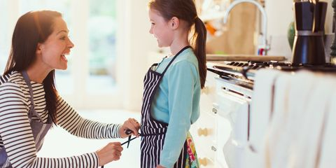 Mum and daughter cooking in kitchen