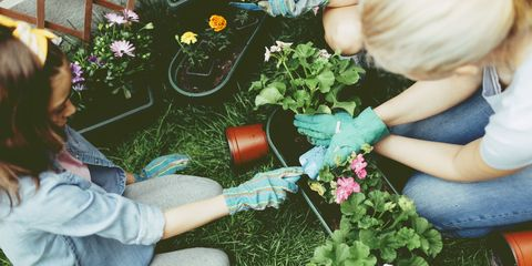 mother and daughter planting flowers together - Garden Therapy