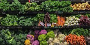 Shelves of vegetables
