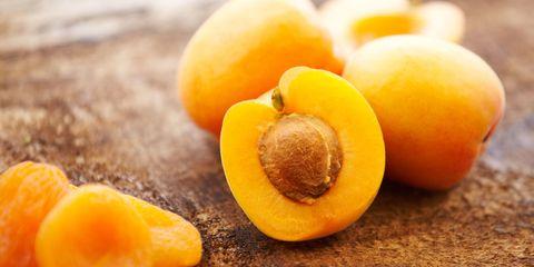 Apricot cut in half