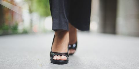 Woman wearing heels for work