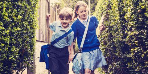 Children walking home from school