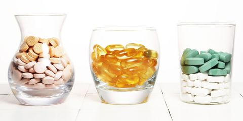Vitamins and supplements in clear jars