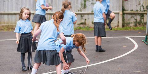 Girls Playing in the School Yard