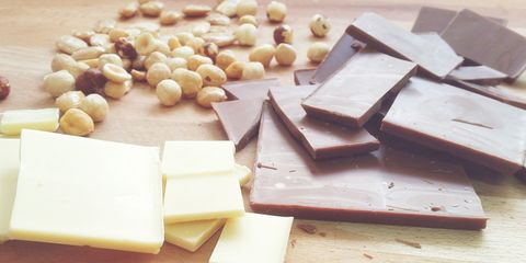 Milk chocolate, white chocolate and nuts