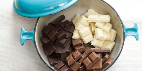 Dark, white, and milk chocolate chunks in pot to be melted for fondue