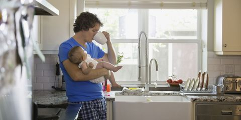 Dad and baby in kitchen