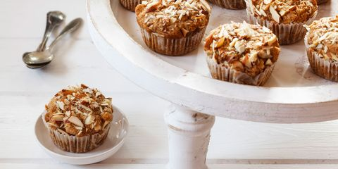 Whole meal apple muffins with almond slices