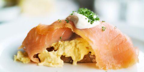 Salmon & scramble eggs on toast
