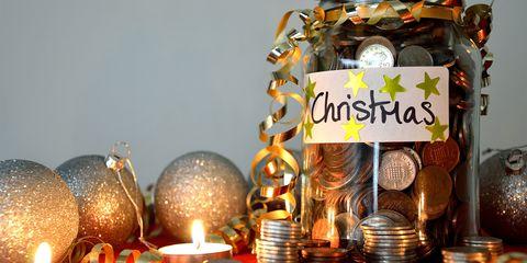 Christmas savings in jar money