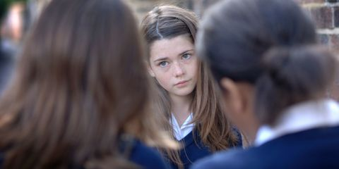Two girls (12-13) bullying other school girl (10-11)