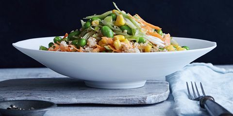 Quinoa and edamame salad with honey and ginger dressing