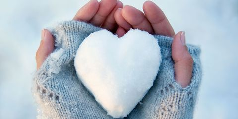Holding a heart-shaped snowball - protect your heart in the cold