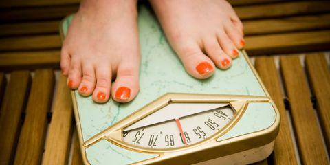 Woman on the weighing scales