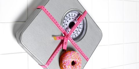 Scale and donut and tape measure