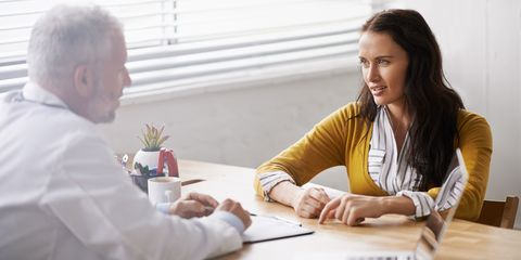 Woman and her GP having a chat