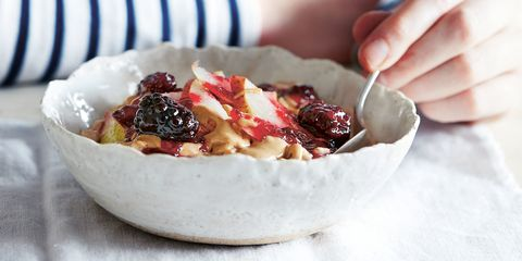Cashew blackberry pear porridge