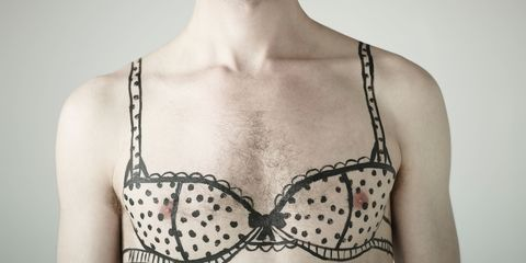 Men with bra drawn on chest - moobs man boobs
