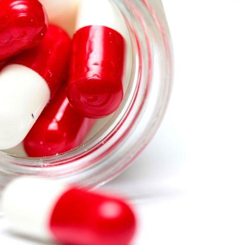 Jar of pills capsules