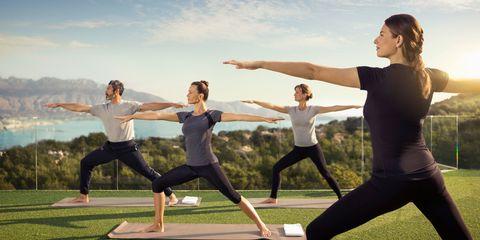 Women doing yoga at the SHA wellness clinic