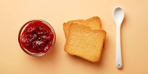 Breakfast toast and jam