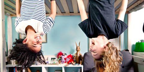 Children playing upside down