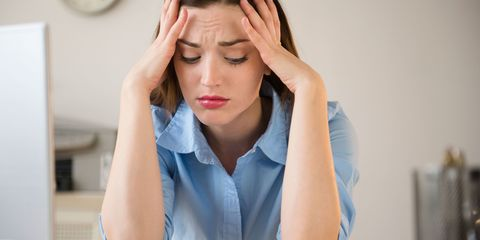 Woman stressed at work