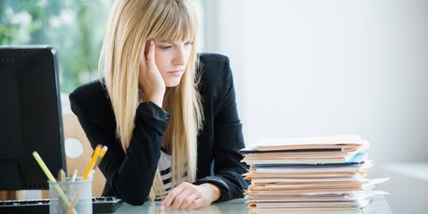Bored woman at work