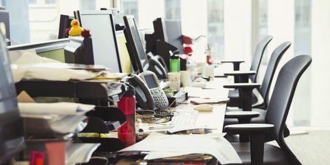 Row of desks empty