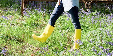 Woman walking in field of bluebells
