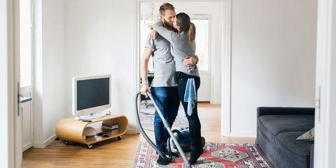Couple doing house work