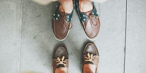 Men wearing boat shoes no socks