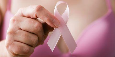 Woman Holding Breast Cancer Awareness Ribbon, Pink Healthcare Examination Reminder