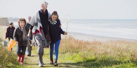 Family walking by sea