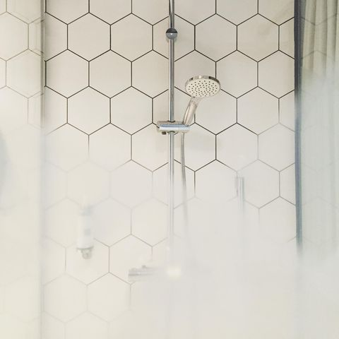 White, Tile, Pattern, Wall, Line, Design, Architecture, Flooring, Room, Material property,
