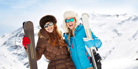 Friends on skiing holiday smiling