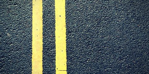 Double yellow lines road