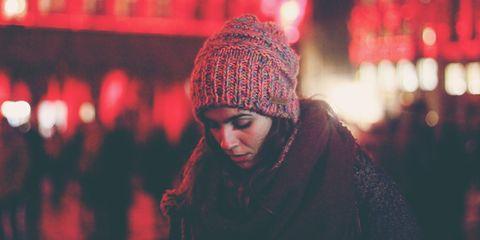 Woman feeling down in winter