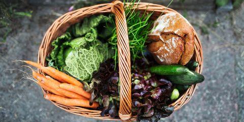 Basket of food / vegetables and bread