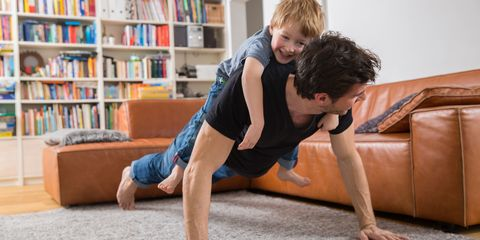 Dad push up with kid