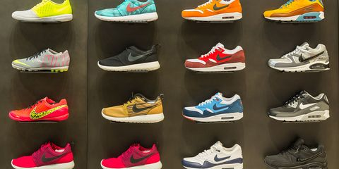 Footwear, Product, Yellow, Red, White, Athletic shoe, Orange, Line, Font, Light,