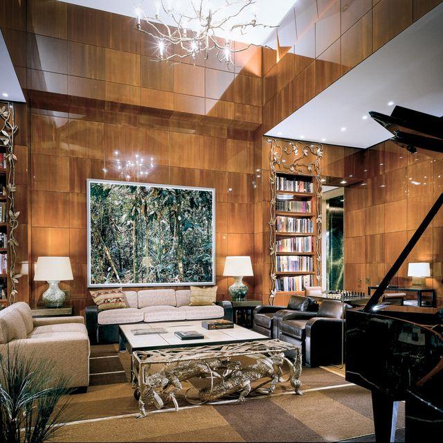Lighting, Interior design, Room, Floor, Couch, Ceiling, Living room, Shelf, Furniture, Interior design,