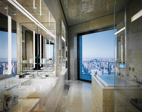 Glass, Floor, Interior design, Architecture, Wall, Room, Ceiling, Flooring, Interior design, Tile,