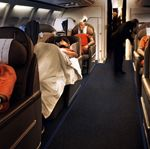 Mode of transport, Transport, Passenger, Comfort, Photograph, White, Red, Public transport, Aircraft cabin, Air travel,