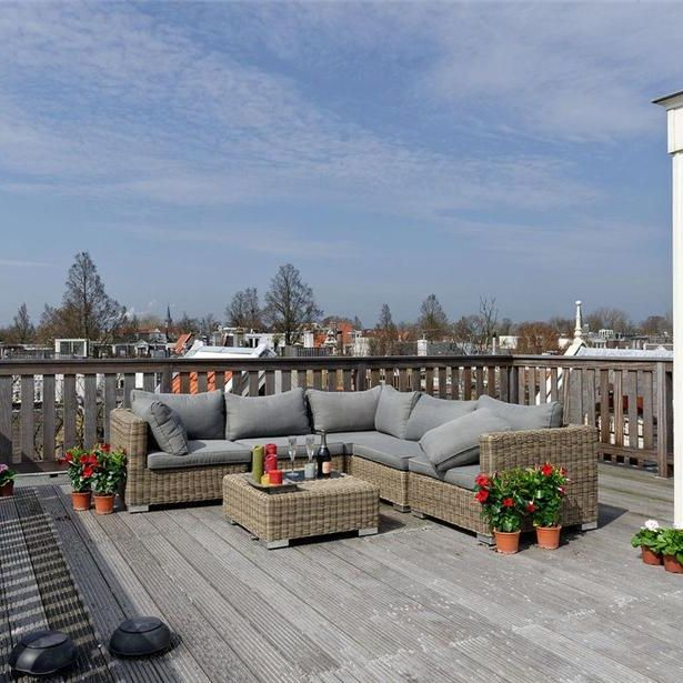 Couch, Real estate, Home, Flowerpot, Living room, Grey, Outdoor furniture, studio couch, Patio, Outdoor sofa,