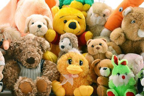 Toy, Yellow, Stuffed toy, Plush, Baby toys, Organism, Textile, Orange, Pattern, Collection,