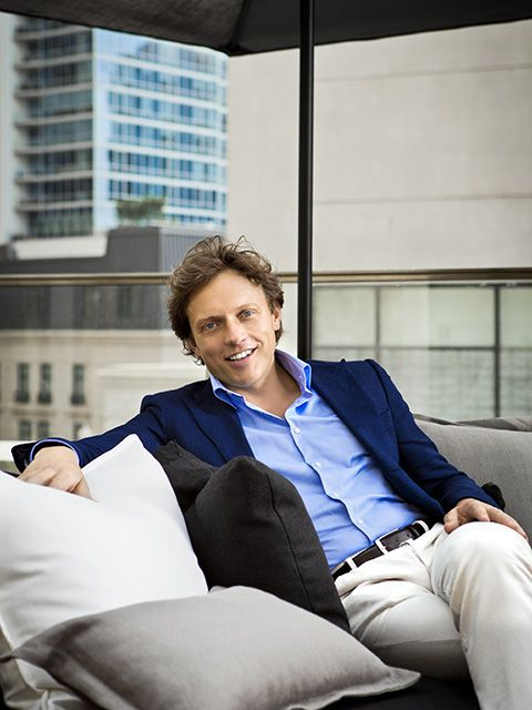 Blue, Sitting, White-collar worker, Furniture, Couch, Room, Architecture, Smile, Photography, Photo shoot,