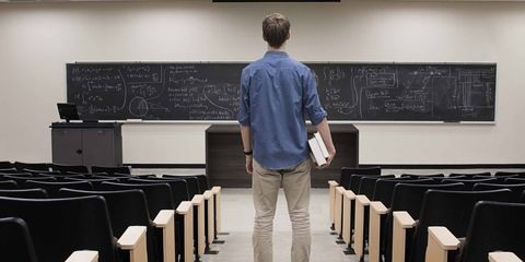Room, Classroom, Standing, Design, Jeans, Denim, Event, Class, Electronic device, Lecture,