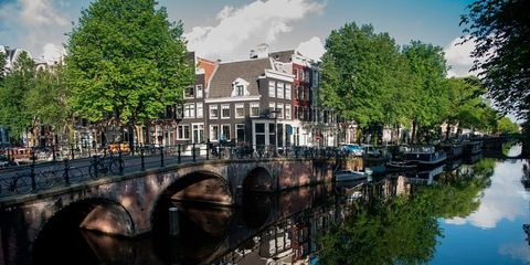 Canal, Waterway, Town, Water, Channel, Reflection, Architecture, River, Arch bridge, Tree,