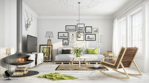 Living room, Furniture, Room, White, Interior design, Couch, Table, Wall, Coffee table, House,
